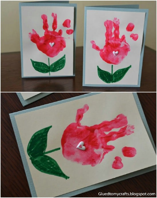 Adorably Easy DIY Handprint Flower Cards