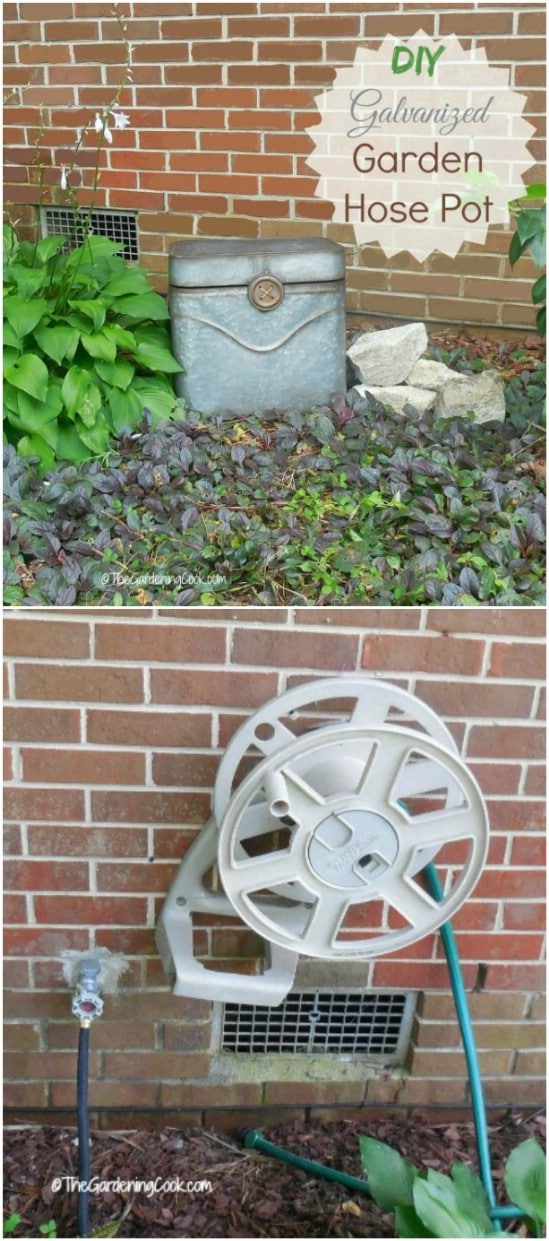 DIY Garden Hose Storage Tub