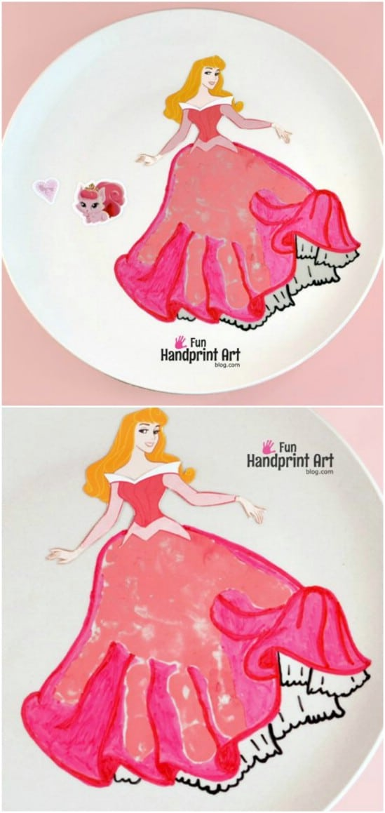 DIY Sleeping Beauty Handprint Art