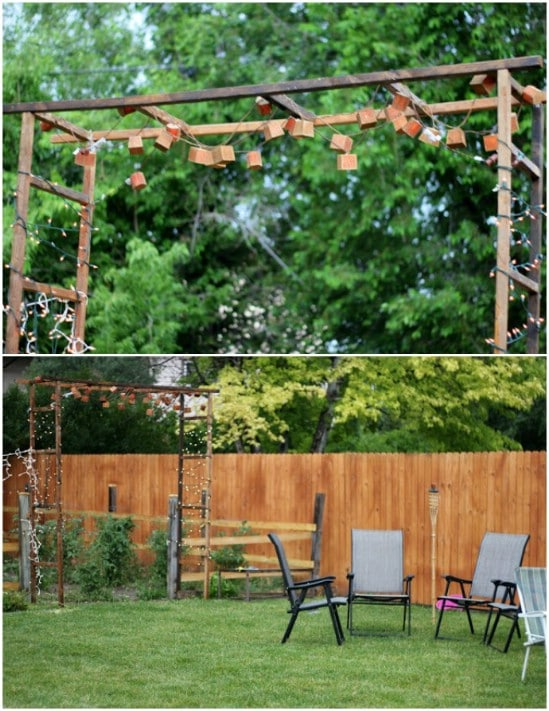 Rustic DIY Lighted Garden Gate