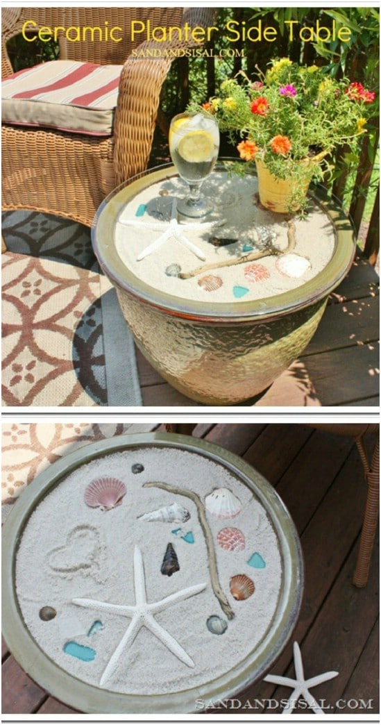 DIY Ceramic Planter Beach Table