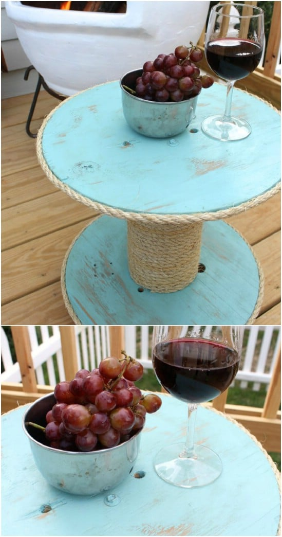 Repurposed Wooden Spool Nautical Table