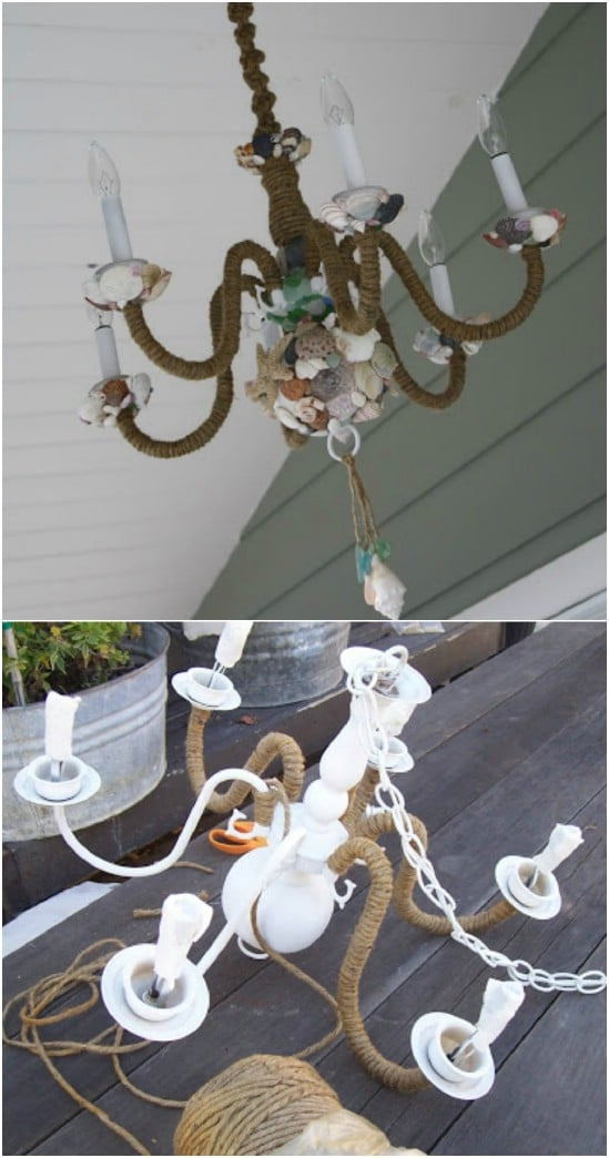 DIY Beach Themed Chandelier
