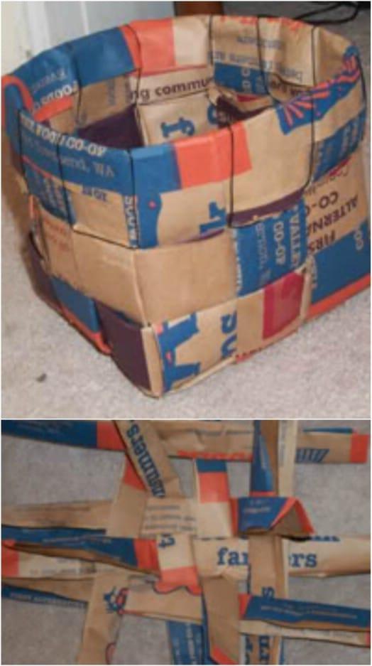 DIY Upcycled Paper Bag Baskets