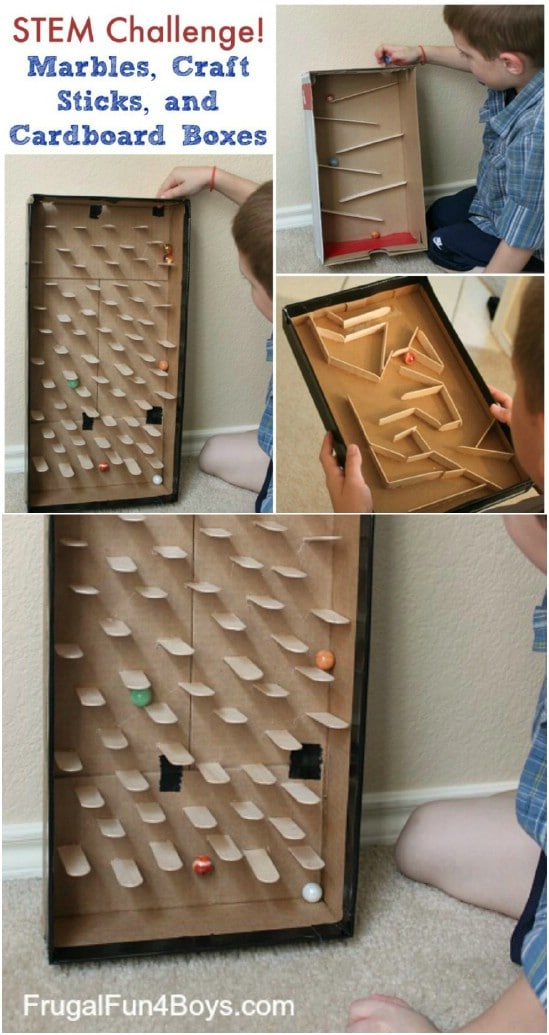 DIY Craft Stick Marble Run