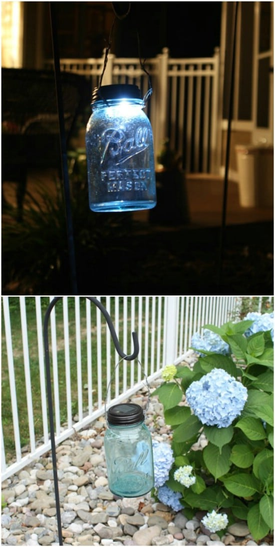 DIY Hanging Mason Jar Solar Lights