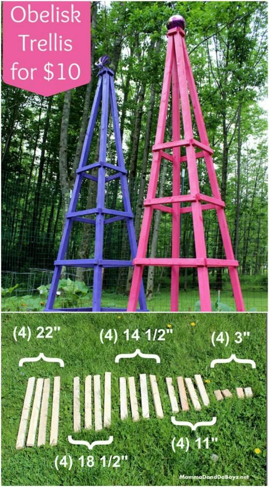 Easy $10 Obelisk Trellis