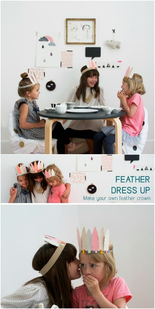 DIY Paint Chip Feather Crowns – Dress Up Fun!