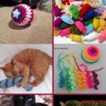 Crochet cat toy collage