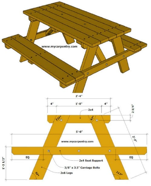 18 Rustic Diy Picnic Tables For An