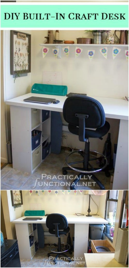 Simple DIY Built In Craft Desk