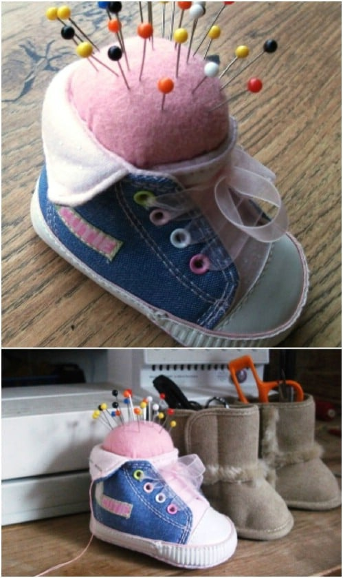 Repurposed Baby Shoe Pin Cushion