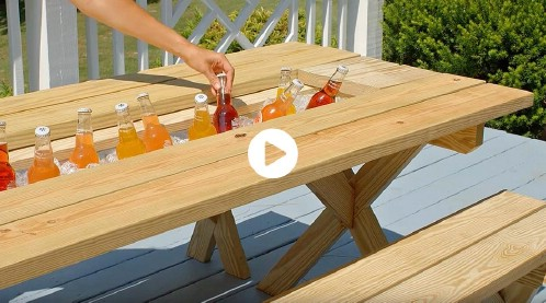 DIY Picnic Table With Attached Cooler