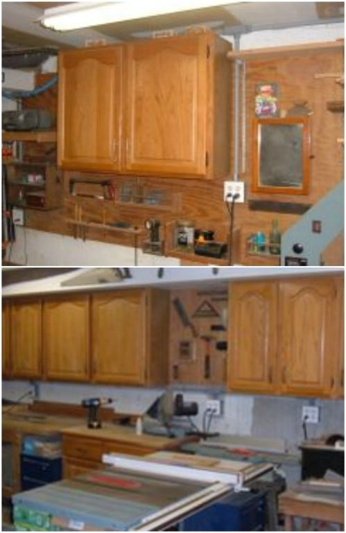 Repurposed Cabinet Garage Storage