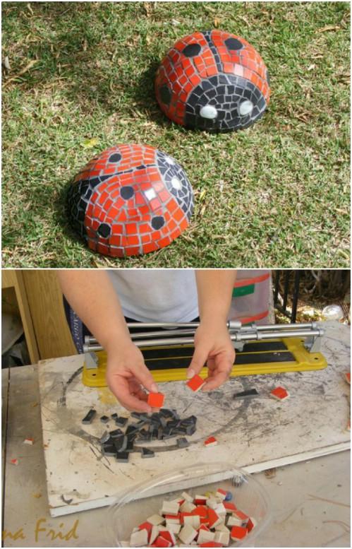 Adorable DIY Concrete Garden Ladybug