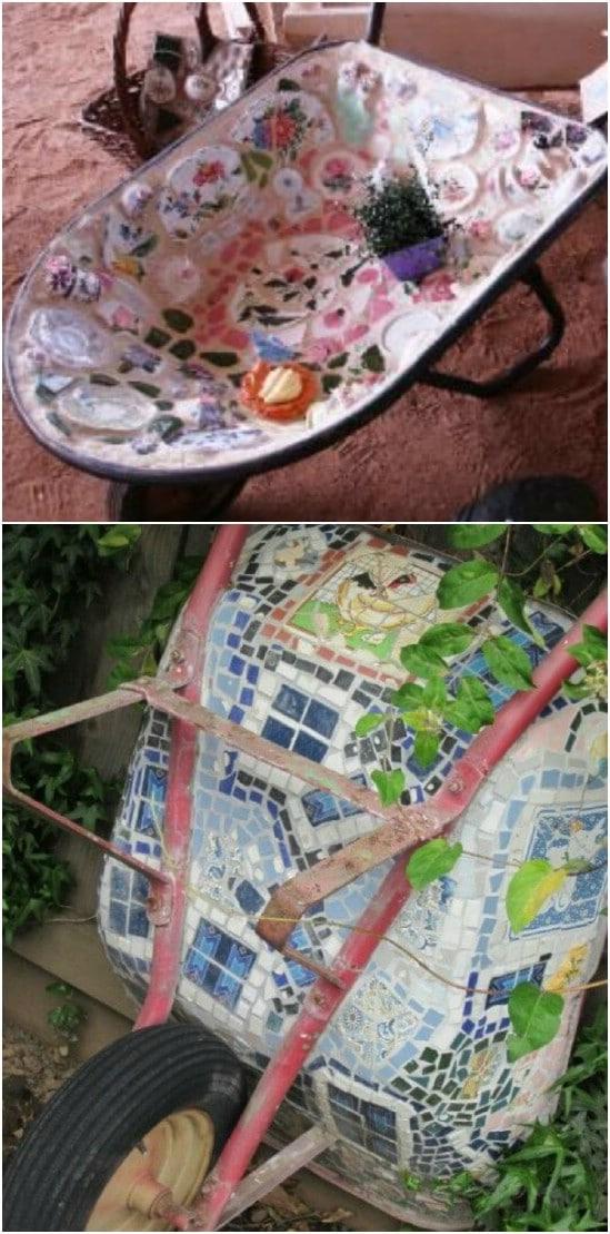 DIY Mosaic Wheelbarrow Garden Décor