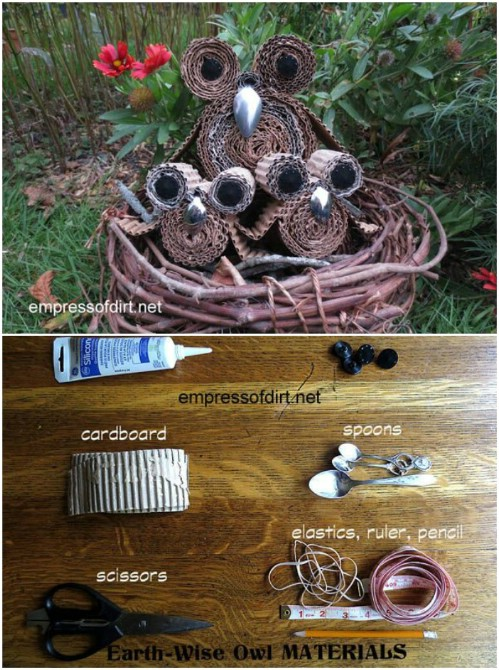Upcycled Cardboard Garden Owls