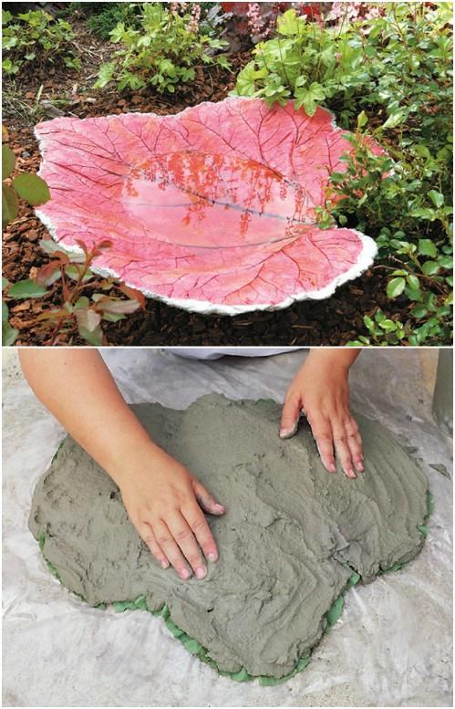 DIY Sand Cast Leaf Bird Bath