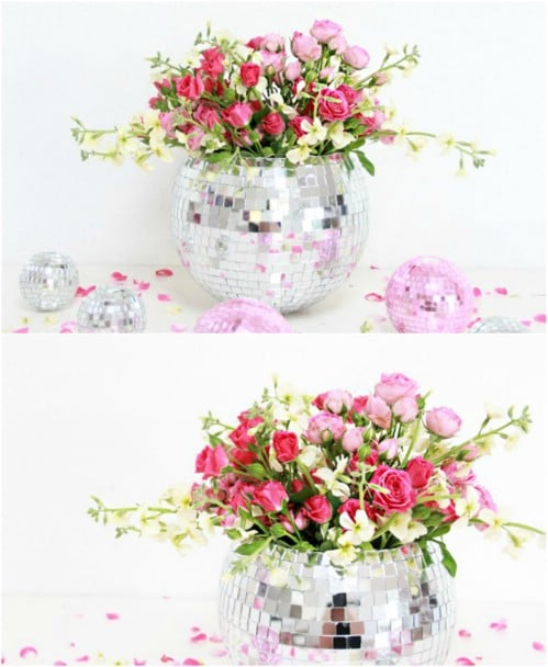 Repurposed Disco Ball Vase