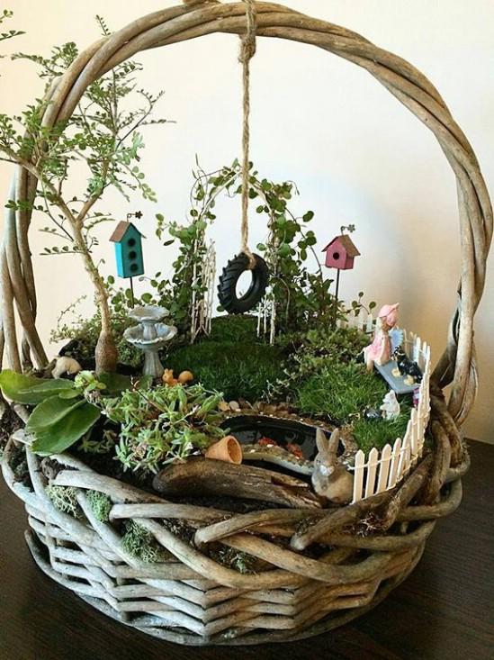Simple DIY Basket Fairy Garden