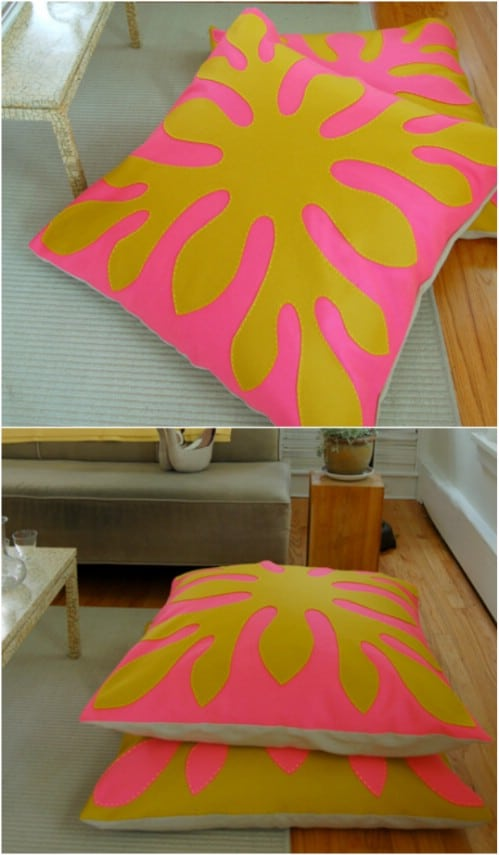 DIY Hawaiian Themed Felt Floor Pillows
