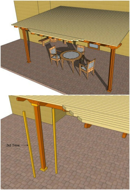 DIY Attached Pergola With Shade
