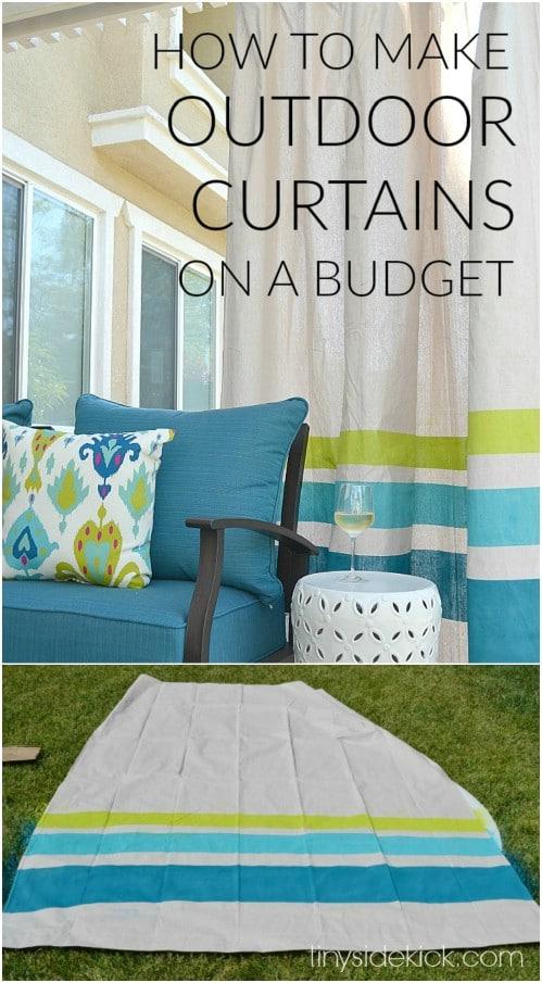 Repurposed Drop Cloth Outdoor Curtains