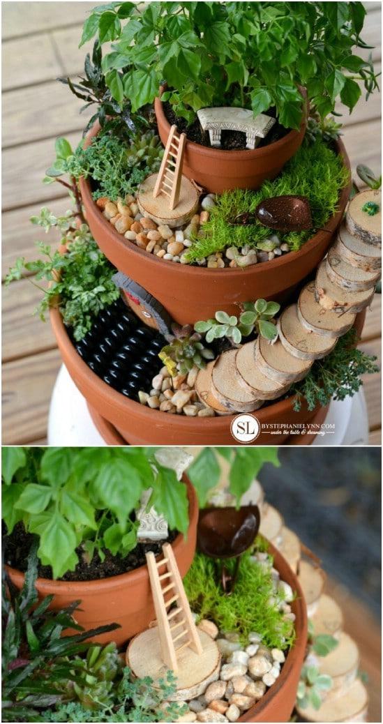 Stacked Flower Pot Fairy Garden
