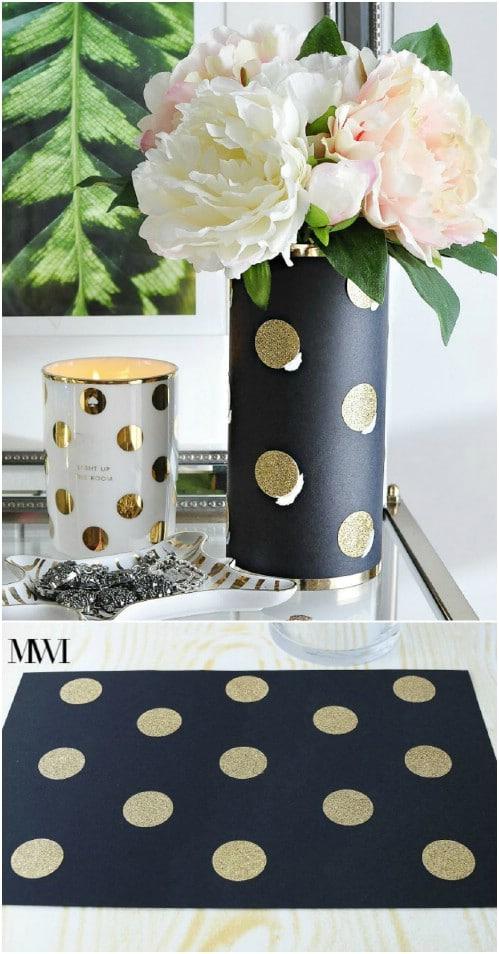 Kate Spade Inspired Glitter Polka Dot Vase