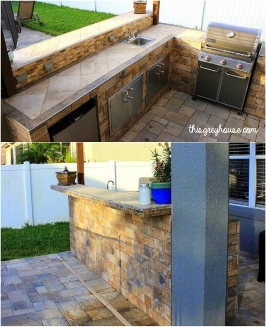 DIY Tiled Outdoor Kitchen