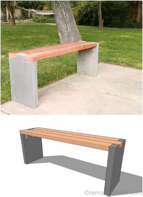 DIY Concrete Slab Garden Bench