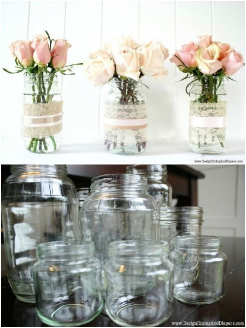 Lacy Repurposed Mason Jar Vases
