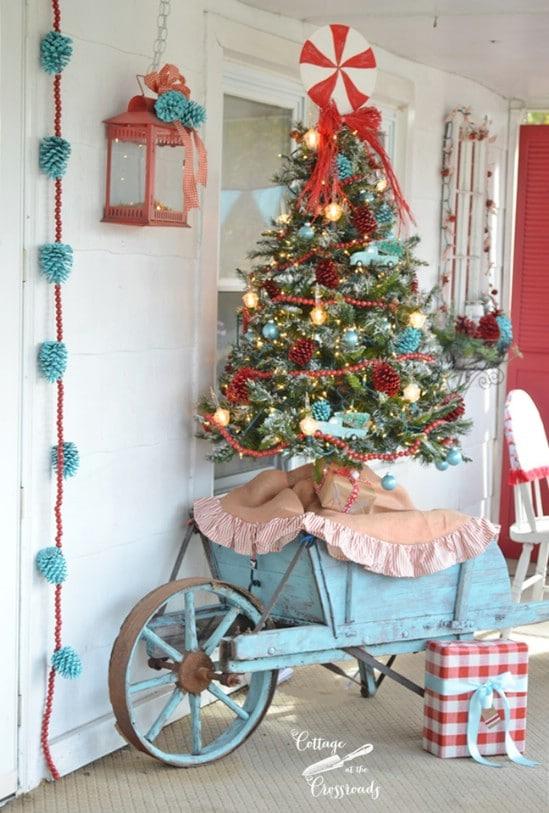 Vintage Outdoor Wheelbarrow Christmas Tree Stand