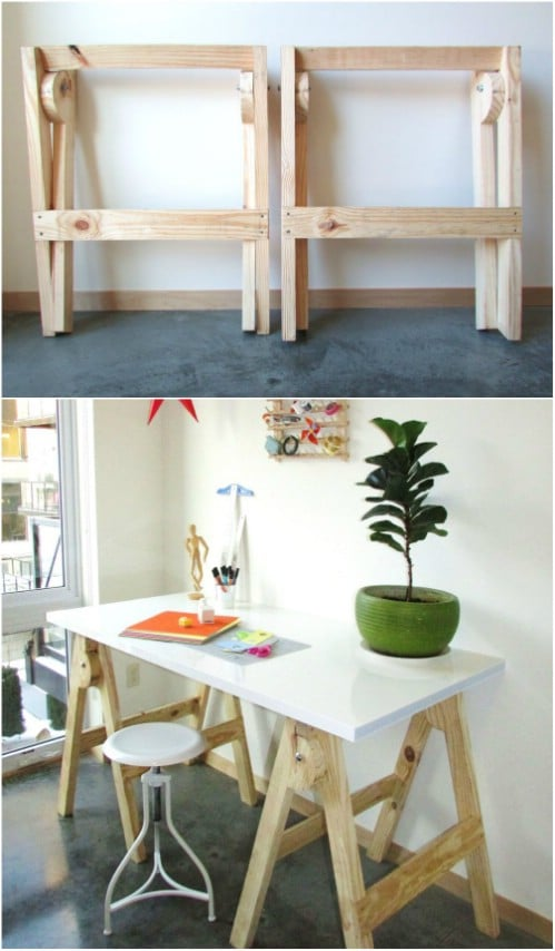 Quick One Hour Sawhorse Crafting Desk