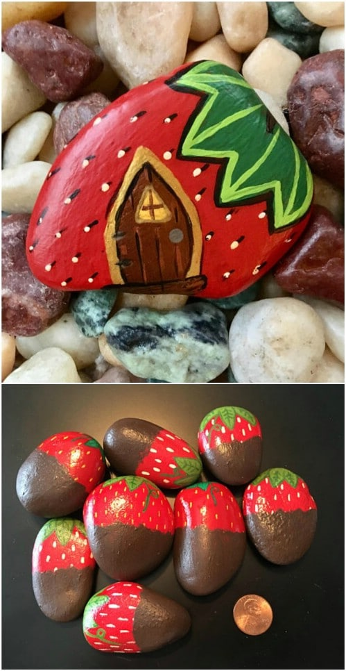 Hand Painted Strawberry Rocks