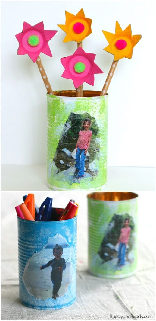 Repurposed Tin Can Pencil Holder