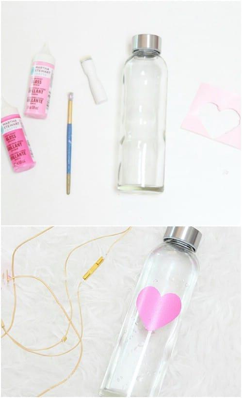 Easy DIY Glass Heart Water Bottles