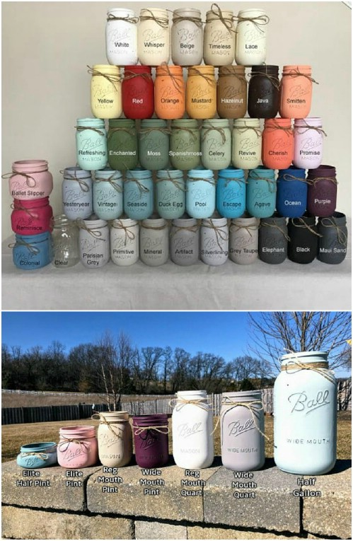 Colorful Mason Jar Painted Vases