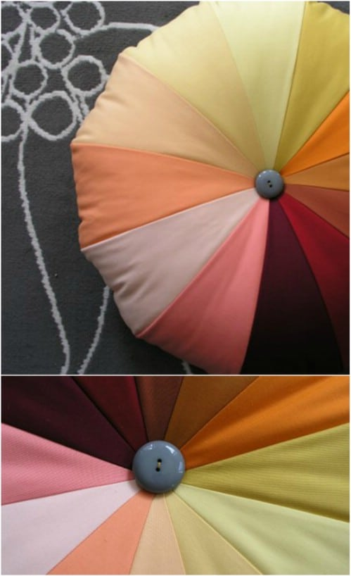 DIY Rainbow Patchwork Pouf