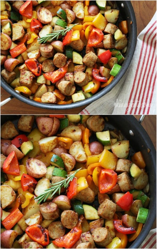 Sausage, Potatoes And Garden Veggies
