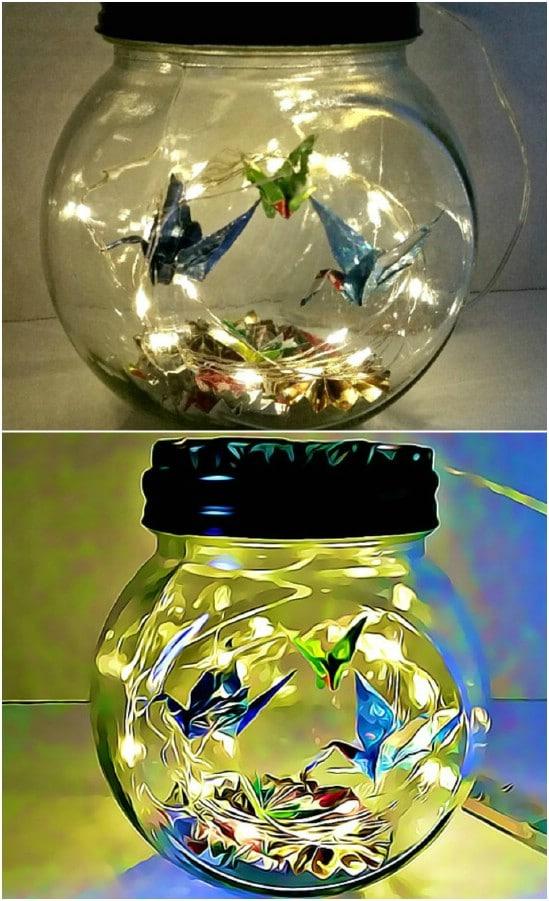 Cute Hand Folded Origami Nightlight In A Jar