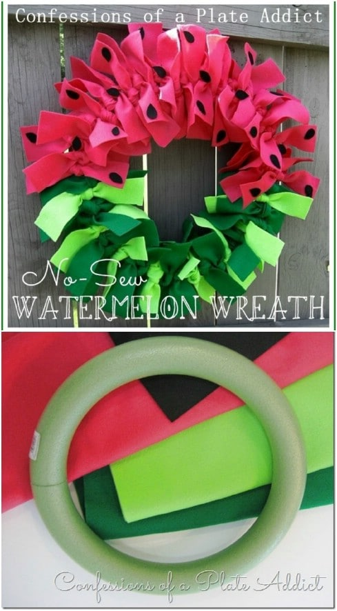 Simple No Sew Watermelon Wreath