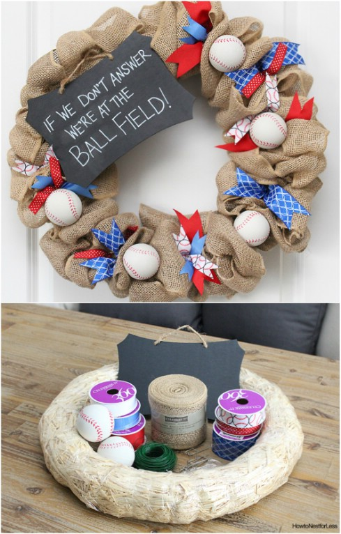DIY Burlap Baseball Wreath