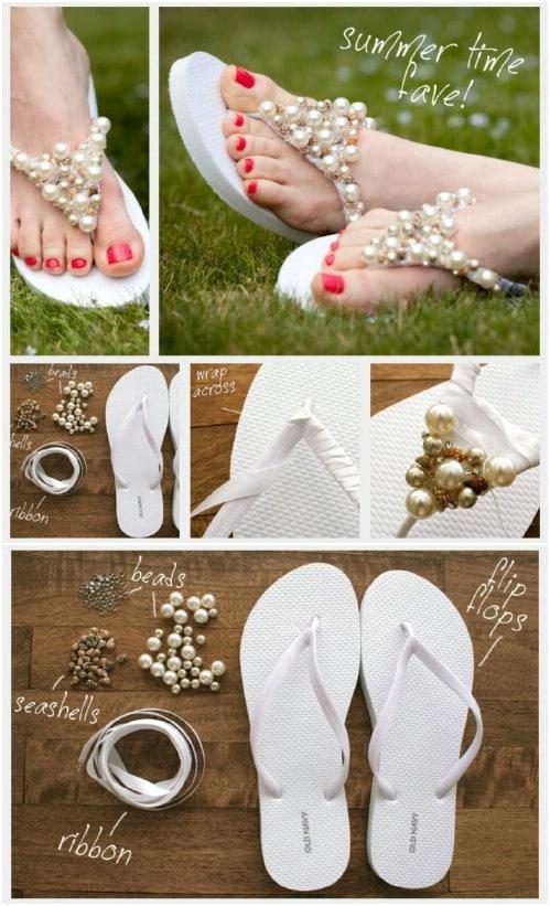Easy DIY Beaded Flip Flops