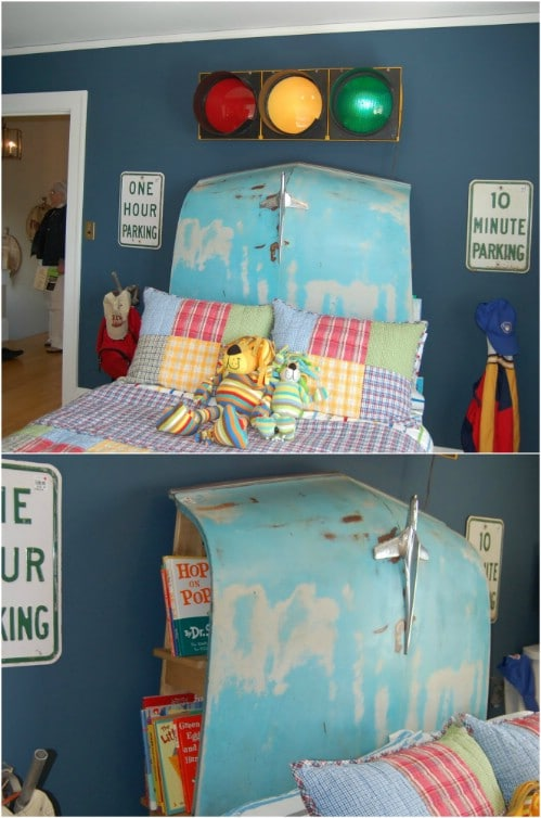 Repurposed Car Hood Headboard With Bookshelves