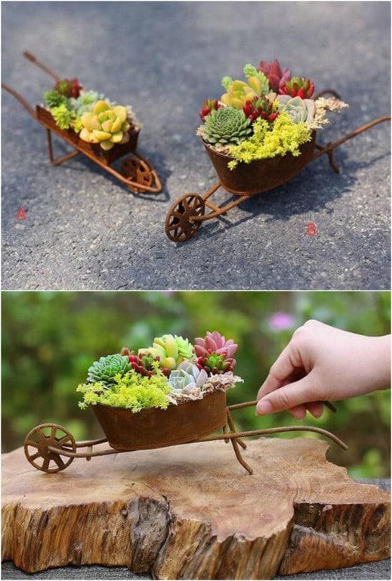 Rusty Iron Wheelbarrow Flowerpot Succulent Container