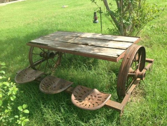 Repurposed Tractor Seat Picnic Table