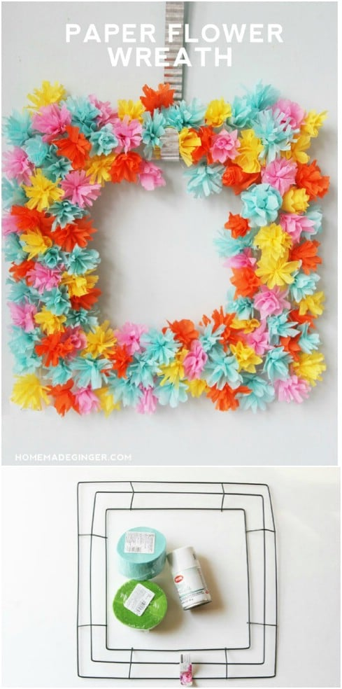 Cheap DIY Paper Flower Wreath