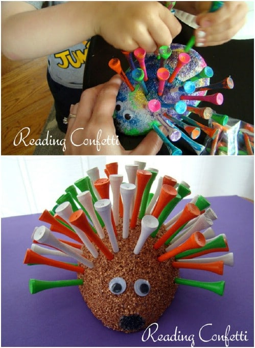 DIY Golf Tee Porcupine Craft