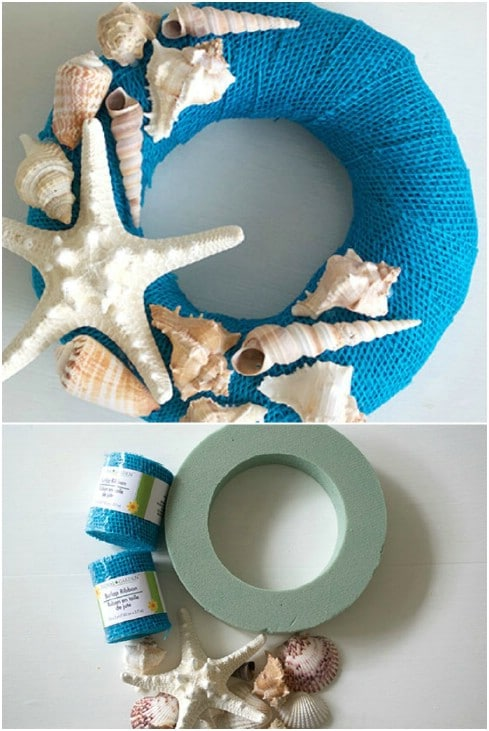 Beach Inspired DIY Seashell Wreath